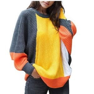 SONYA Color Block Oversized Sweater